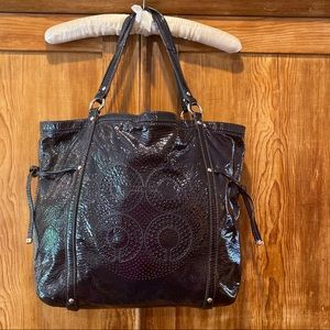 Coach Patent Navy Blue Tote Bag